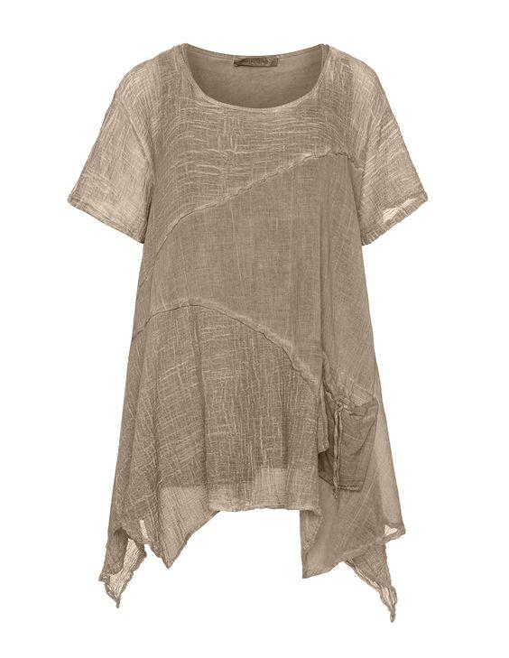 Zweiteilige Tunika im Knitter-Look in Taupe-Grau designed von zedd plus in der Kategorie Tuniken bei navabi.de