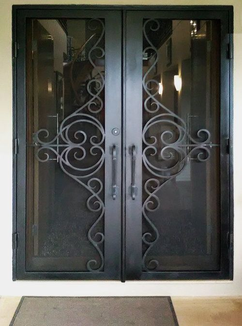 Cortona Wrought Iron Security Door With Images Wrought Iron