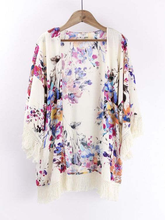 Off White Floral Kimono. Another best seller time after time.  This off white Kimono with gorgeous floral print pattern is so easy to wear and easy to pair!  therollinj.com