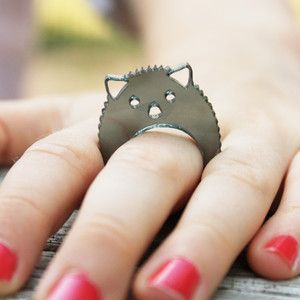 Hedgehog Ring Smoke Size 5, now featured on Fab.