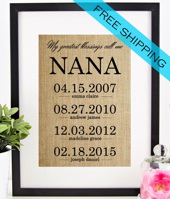 Personalized Nana Gift | Mother's Day Gift for Grandmother | Burlap Print | Grandchildren Name Wall Art | My Greatest Blessings Call Me Nana by chathamplace on Etsy https://www.etsy.com/listing/227081599/personalized-nana-gift-mothers-day-gift