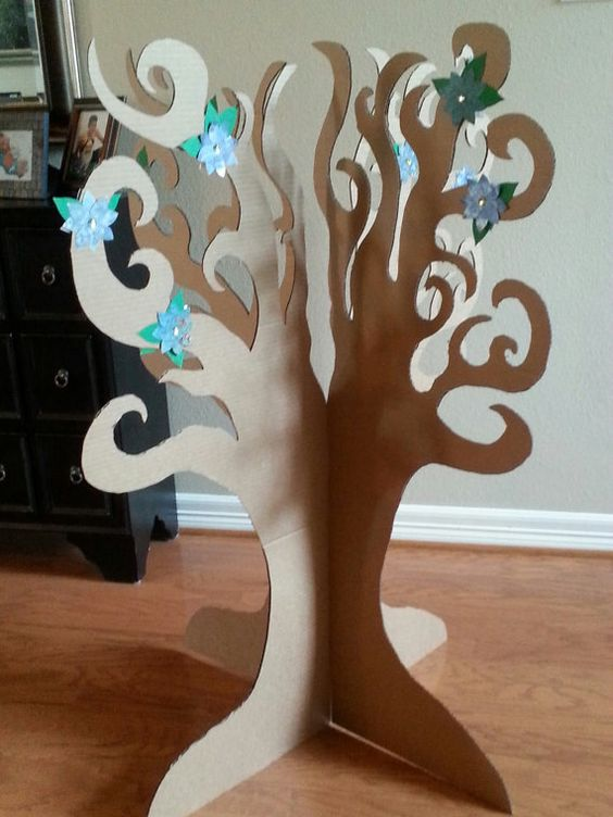 How To Make A Book Holder Out Of Cardboard : D cardboard tree with paper flowers by thepapercarousel