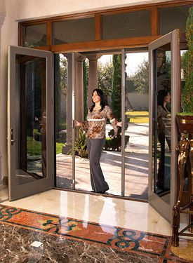 Retractable door screens for french entry and sliding for French doors back porch