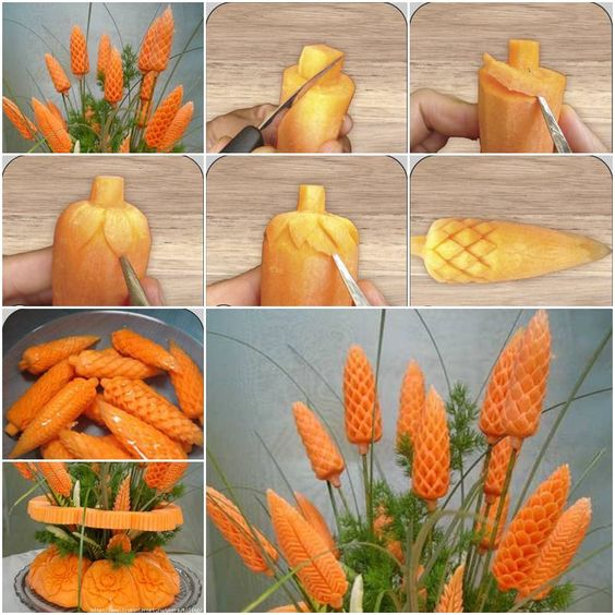 How to Carve Carrot Flowers step by step DIY tutorial instructions, How to, how to do, diy instructions, crafts, do it yourself, diy website, art project ideas:
