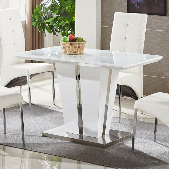 Memphis Glass Dining Table Small In White Gloss And Chrome Base