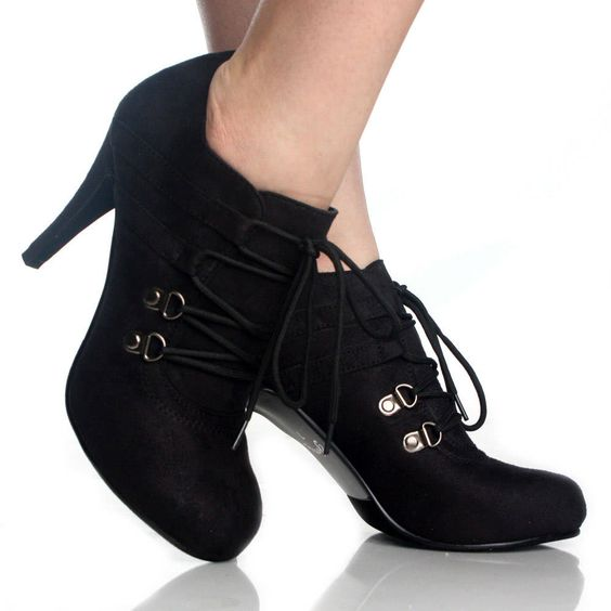 images of womens&-39- boots/booties - Lace Up Ankle Booties Black High ...