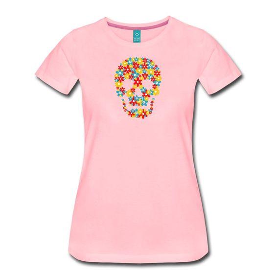 Buntes Totenkopf Motiv mit Blumen für T-Shirts und andere Produkte. Piraten Motiv mal ganz blumig. Ideal auf schwarzem oder dunklem Hintergrund, Z. B. auf schwarzem T-Shirt. Design für Mann und Frau.