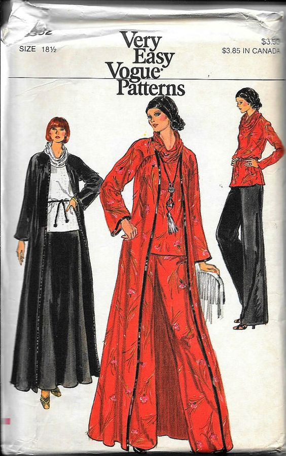 Vintage 70s Vogue 1457 Evening Tunic Dress Or Top and Pants Sewing ...