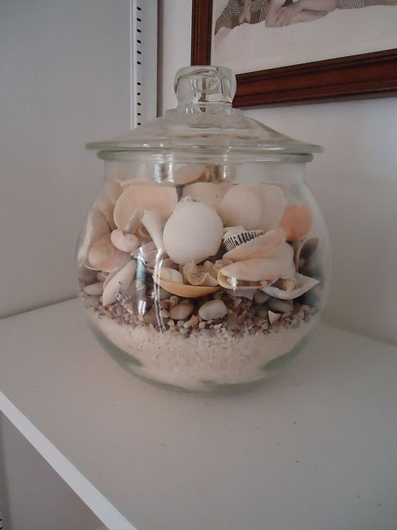 Shells In Jar With Sand Coastal Pinterest A Well