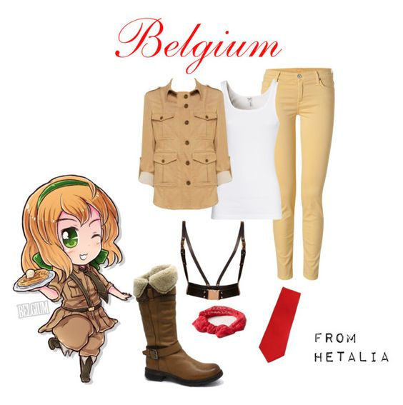 """Hetalia - Belgium"" by anime-couture ❤ liked on Polyvore featuring 7 For All Mankind, Manas, Topshop, ban.do, Splendid and Alice + Olivia"