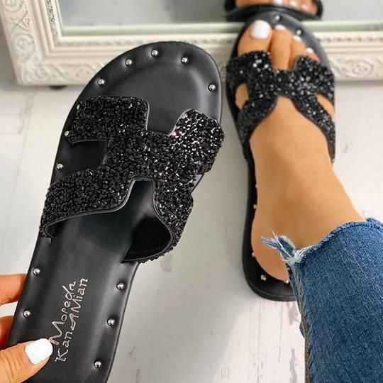 31 Rhinestones Flat Mule Shoes That Make You Look Fabulous shoes womenshoes footwear shoestrends