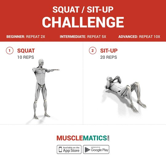 It's #workoutwednesday and we have a fun new #challenge for you today! Make sure to add a few of these to your #workout routine. #followthemovement #squats #situps # #MuscleMatics #abs #legday #fitness #bodybuilding