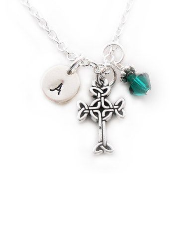Love this Silvertone & Swarovski Crystal Cross Initial Pendant Necklace by The Sassy Apple on #zulily! #zulilyfinds