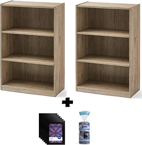 New Mainstay 3 Shelf Bookcase Wide Bookshelf Storage Wood Furniture Bundle Set Rustick Oak Bundle Set 2 Online