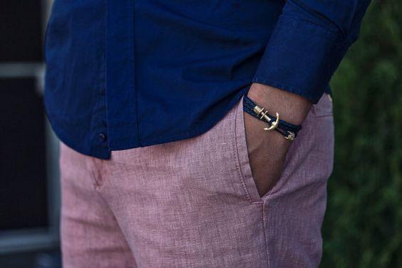 Das Baumwolle Anker Armband ist in den von JulesVerneStore auf Etsy