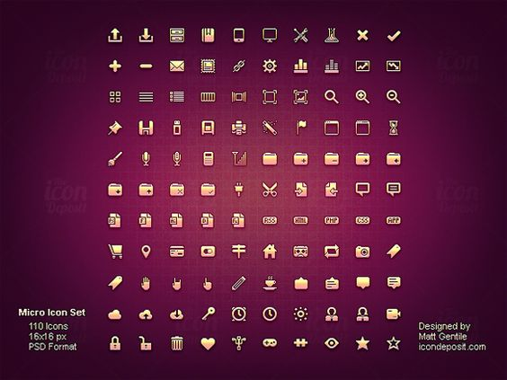 A set of 110 iconsat 16x16px. Vector and fully scalable. A backlinkis required if you use them.