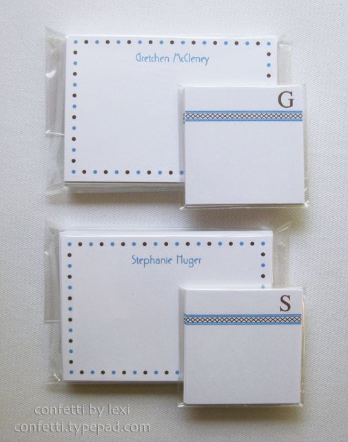 dotted name notes + ribbon border gift enclosures for a matched set