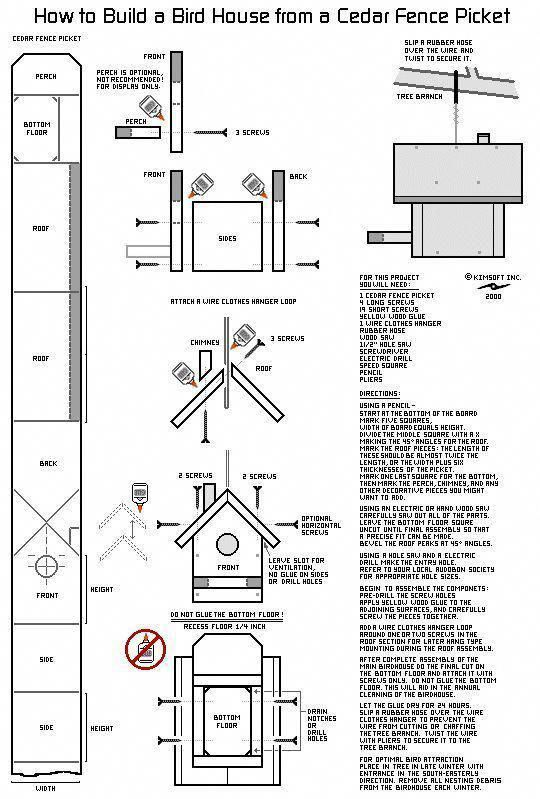 How To Build A Bird House Out Of A Cedar Fence Picket Birdhousedesigns Howtobuildabirdhouse Bird House Plans Free Bird House Plans Bird House Kits
