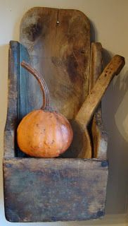 Prim Fall...Distressed Blue Wall Box filled with wooden paddle & pumpkin...by HomeSpunPrims.