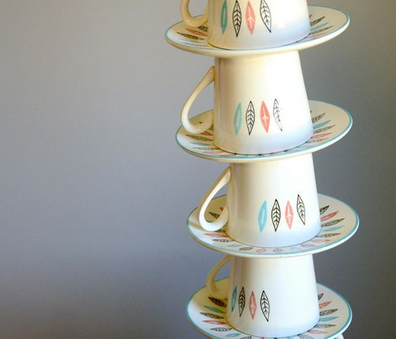 Nordic Mint Cup & Saucer by Red Line Vintage