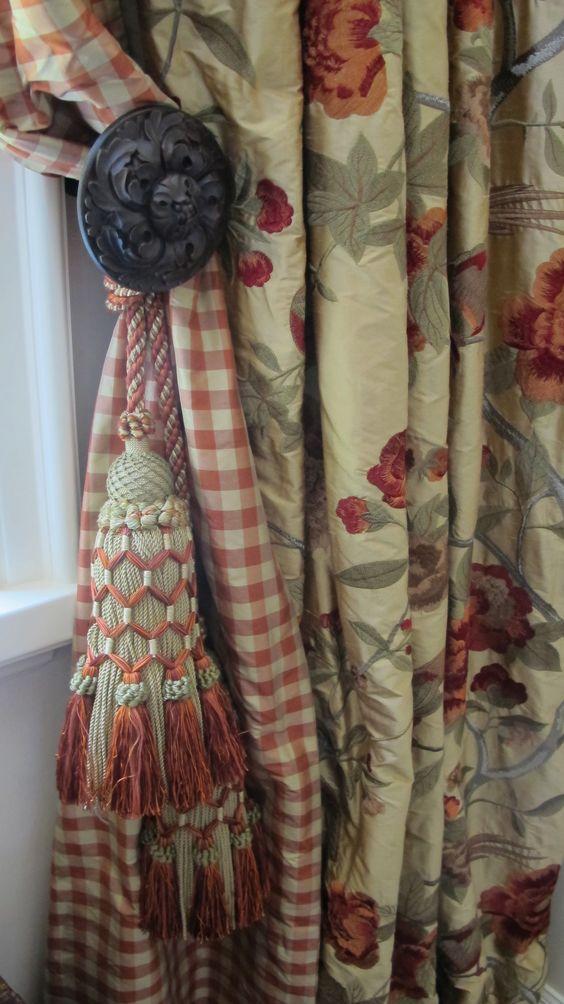 Embroidered Silk Taffeta with Silk Check Lining & Custom Tassels  www.lindafloyd.com