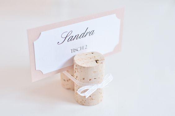 """Tischkarten """"Korken mit Schleife"""" Platzkarten  von little-pink-butterfly auf DaWanda.com"""