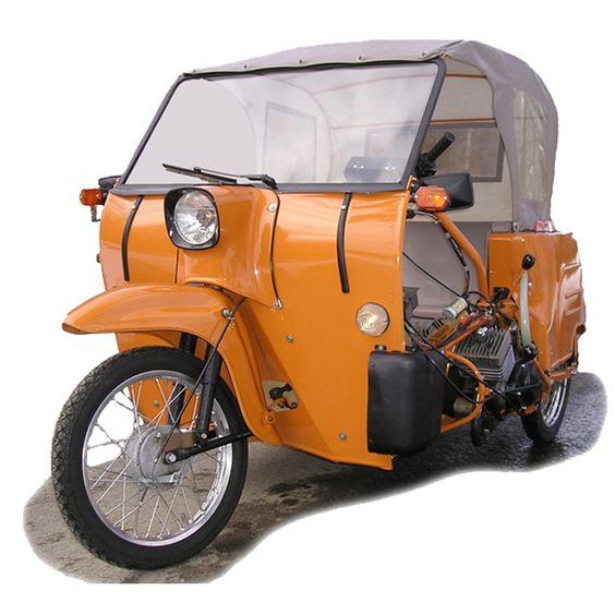 Simson, DDR, 2-Sitzer Krause-Duo Behindertenfahrzeug auf Schwalbe-Basis. Gab es auch mit festen Aufbauten und etwa 55 - 60 km/h Spitze.
