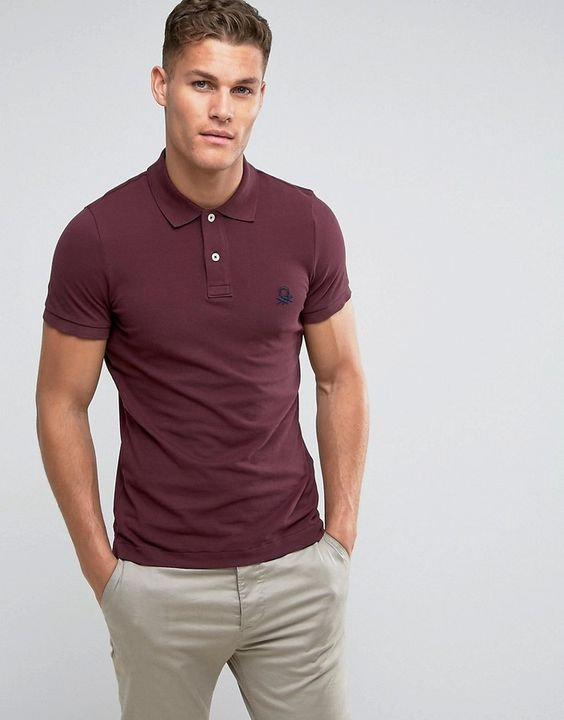 United Colors of Benetton Muscle Fit Polo Shirt In Burgundy