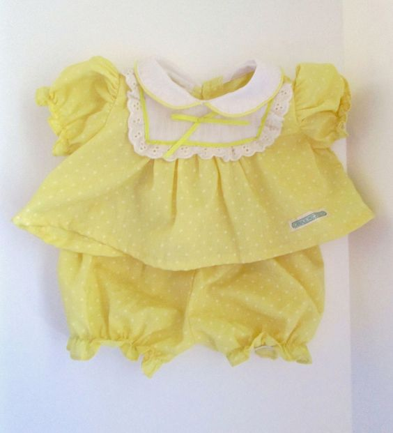 Coleco Vintage Cabbage Patch Doll Clothes Yellow White Dotted Dress With Panties #ClothingAccessories