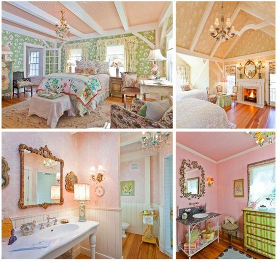 collage of Kirstie's shabby chic maine house