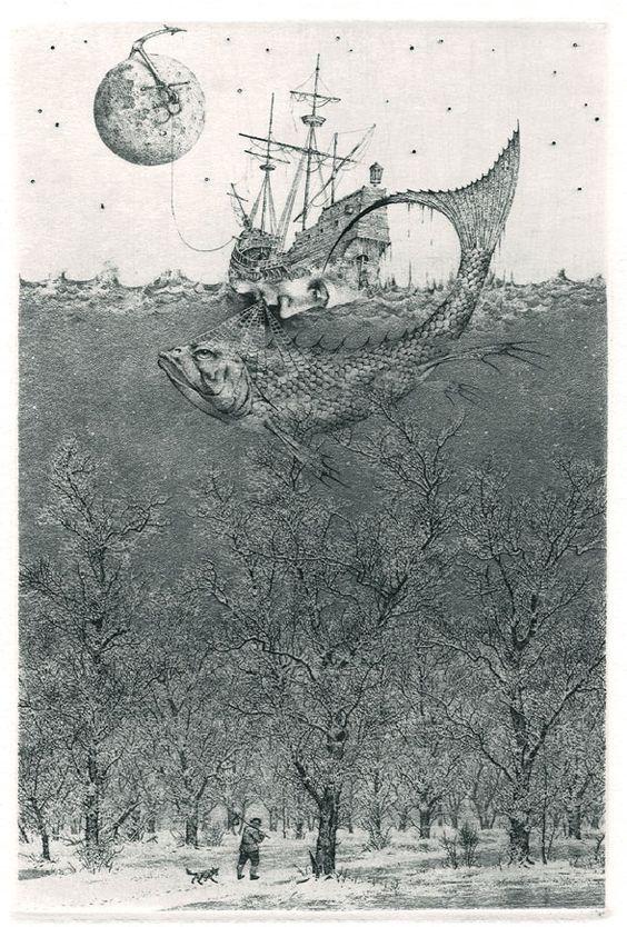 iamjapanese:  Konstantin Kalinovich(Russian/Ukrainian, b.1959)  Flight to Nowhere  2005  Etching,mezzotint