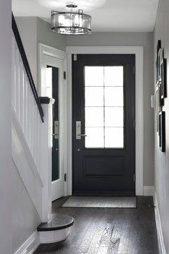 Love the light grey walls white trim and dark wood