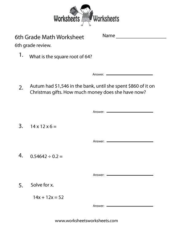 math worksheet : 6 grade math worksheets  sixth grade math practice worksheet  : Math Worksheets For Sixth Graders