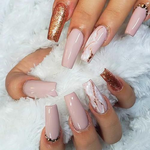 White Christmas Nails Acrylic Nails Coffin Rose Gold Nails Design Coffin Nails Long