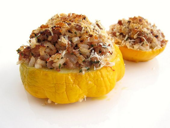 stuffed pattypan squash by The Gastronomer. My Modifications: no tomatoes or paste. Added sautéed mushrooms, tarragon and basil, and gruyere and Parmesan cheese.
