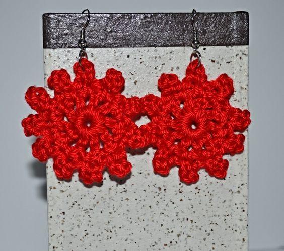 #Red #Earrings #crochet #Rot #Ohrringe #Häkeln #Rojo #aretes #pendientes #croché #ganchillo #Present #Geschenk #Regalo #Christmas #Weihnachten #Navidad #handmade #hechoamano #Handarbeit #hippiestyle