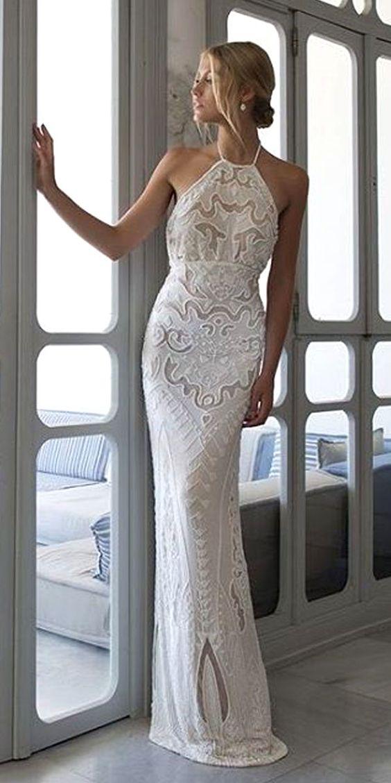 halter vinatge lace wedding dress via riki dalal - Deer Pearl Flowers / http://www.deerpearlflowers.com/wedding-dress-inspiration/halter-vinatge-lace-wedding-dress-via-riki-dalal/