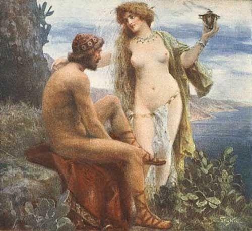 Jan Styka - Goddess Calypso promises immortality to Odysseus. Tags: odysseus, ulysses, odyssey, calypso, kalypso,