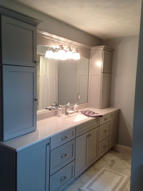 Marbles gray and marble floor on pinterest for Bathroom cabinets kraftmaid