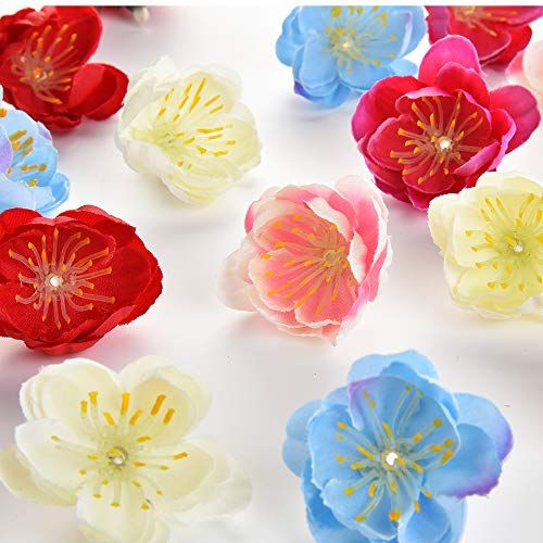 Silk Flowers In Bulk Wholesale Fake Flowers Heads Mini Artificial Fake Silk Cherry Blossoms Flower Head Wedding Party Wreath Decoration Scrapbooking Floral Home Silk Flower Arrangements Fake Flowers Silk Flowers