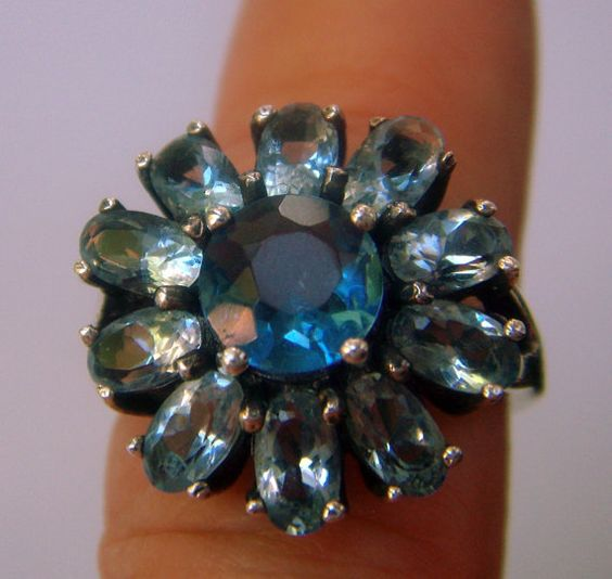blue daisy ring vintage 925 silver crystal size 8 от ODMIVINTAGE