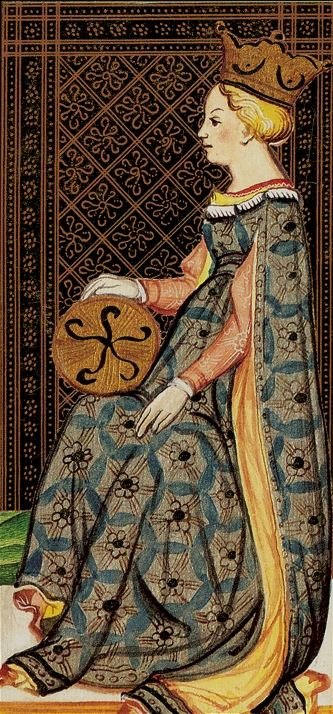 Queen of Pentacles - Visconti Tarot-  one of the earliest tarot decks, from Italy, 1450s