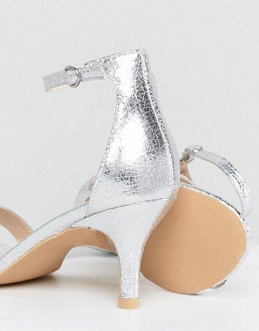 Glamorous Glamorous Silver Barely There Kitten Heeled Sandals Sandals Heels Kitten Heel Sandals Kitten Heels