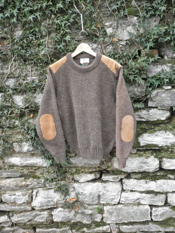Brown Wool Sweater Suede Elbow and Shoulder Pads by flickaochpojke, $35.00