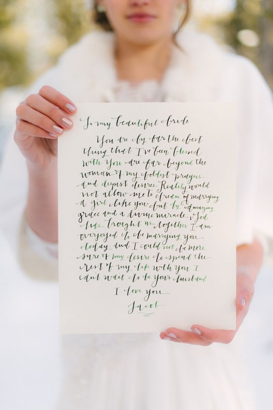 sample wedding day love letters winter wedding inspiration shoot sweet words wedding 27423