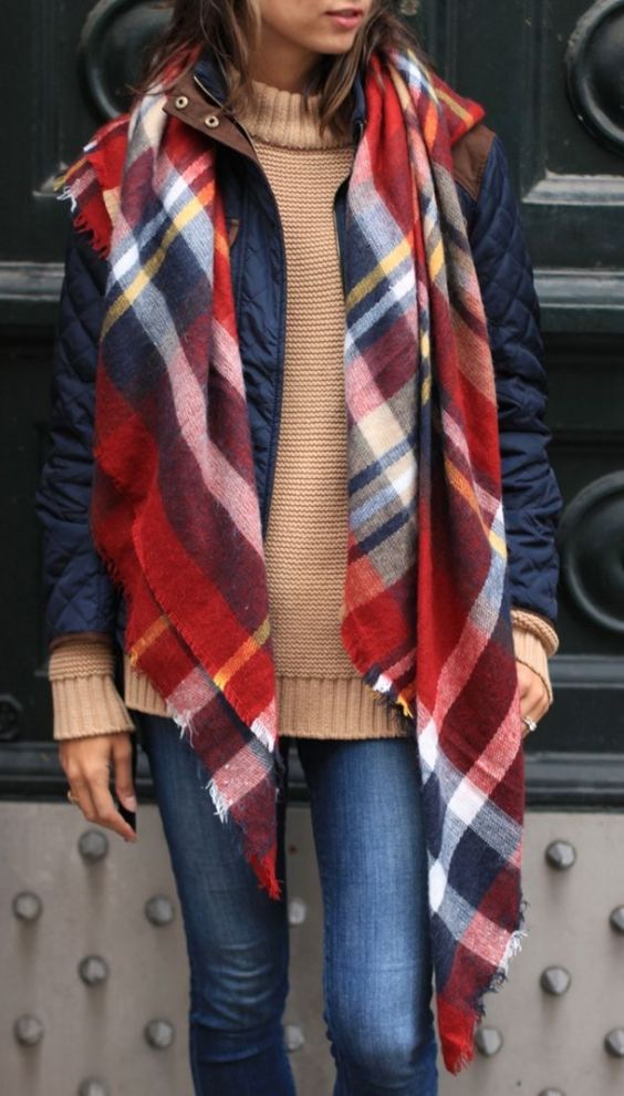 #fall #fashion / camel knit + tartan scarf:
