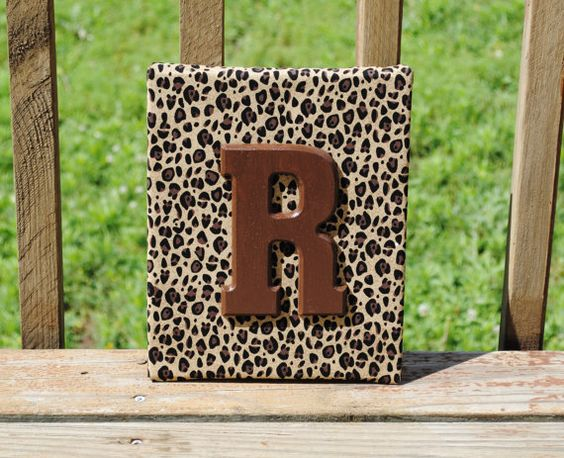 """Personalized Cheetah Print with Brown Initial Canvas Wall Art 8""""x10"""" Customized Boys And Girls Room Decor"""