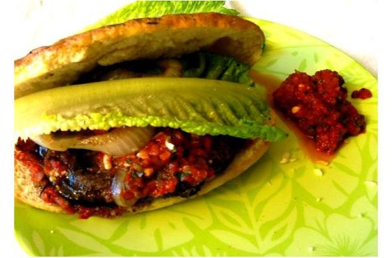 ... Burgers With Roasted Pepper & Tomato Spread | Portobello, Burgers and