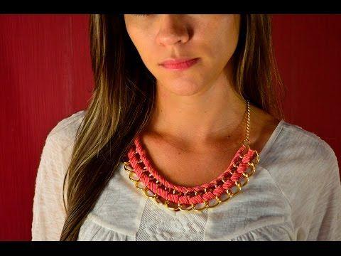 Como hacer un collar con cadena y cinta de tela | JPaola - YouTube
