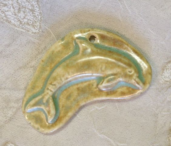 by Sheri Mallery of Slingin Mud Jumping Dolphin  Ceramic Porcelain Pendant Focal by SlinginMud, $9.00